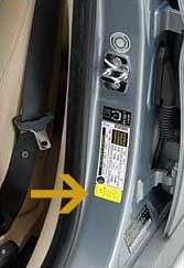 Sticker With Tyre Pressure Information