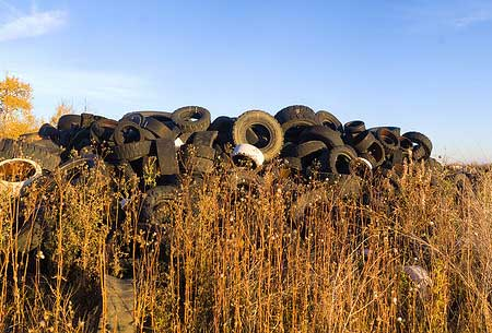 Used tires on a field